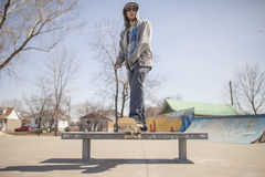 Young skateboard enthusiast in skatepark Stock Images