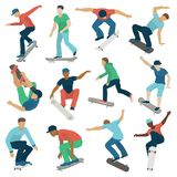 Young skateboarder active boys sport extreme active skateboarding jump tricks vector illustration. Stock Photography