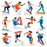 Young skateboarder active girls sport extreme active skateboarding jump tricks vector illustration. Royalty Free Stock Image