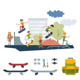 Skateboarder active people park sport extreme outdoor active skateboarding urban jumping tricks vector illustration. Royalty Free Stock Photography