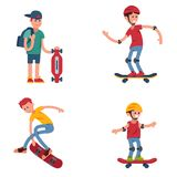 Young skateboarder active people sport extreme active skateboarding urban jumping tricks vector illustration. Stock Images