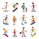 Young skateboarder active people sport extreme active skateboarding urban jumping tricks vector illustration. Royalty Free Stock Image