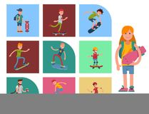 Young skateboarder active people sport extreme active skateboarding urban jumping tricks vector illustration. Freestyle boarding skatepark Royalty Free Stock Photos