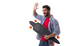 Young skateboarder with a longboard skateboard isolated on white Royalty Free Stock Photos