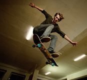 Young skater. Picture of a skater jumping stock photo