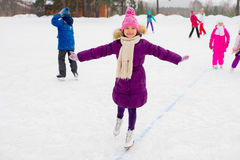 Young skater girl on the ice Royalty Free Stock Images