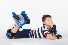 Young skater on white background Stock Image