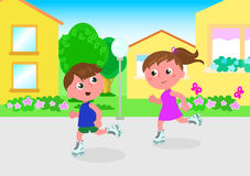 Young skaters in town vector Royalty Free Stock Photos