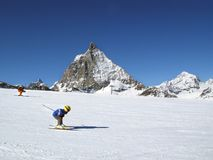 Young skier. The young skier and matterhorn Stock Images