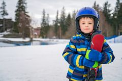 Young skier boy winter portrait stock image