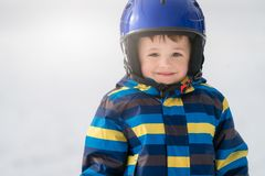 Young skier boy winter portrait stock photos