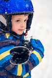 Young skier boy winter portrait stock photography