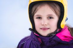 Young skier girl winter portrait stock photography