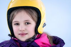 Young skier girl winter portrait stock image