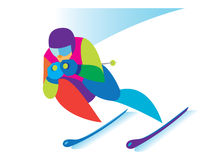 Young skier involved in downhill Stock Images