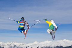 Young skier jumping Stock Photography