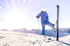 Free Young Skier On Blue Uniform At Sunset On Relax Moment In French Alps Ski Resort - Winter Adventure And Sport Concept With Royalty Free Stock Photos - 161958268