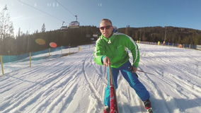 Young skier with onboard camera footage stock video