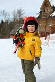 The young skier on slope with ski Stock Images