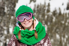 Young skier smiling Royalty Free Stock Images