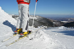 Young skier at the starting position Stock Photos