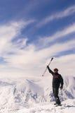 Young skier  on the top of mountain Ejder. Palandoken. Turkish ski resort Royalty Free Stock Photo