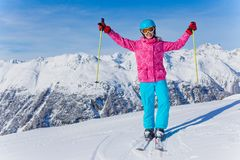 Young skier in winter resort. Skiing, winter, child - young skier in winter resort Stock Photos