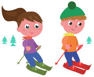 Young skiers isolated vector Royalty Free Stock Photos
