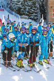 Young skiers at opening new ski season 2015-2016 Stock Photos