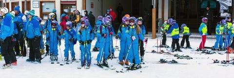 Young skiers preparing to ski in Bansko, Bulgaria Stock Photo