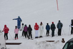 Young skiers and ski instructor Stock Photo
