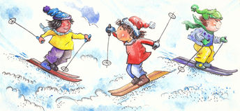 Young skiers. Three children happy skiing in the snow Stock Image