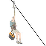 Young Skinny Man Zip line. An image of a young skinny man riding on a zip line Stock Images