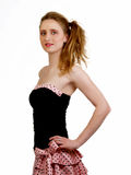 Young skinny woman in pink and black dress Royalty Free Stock Images