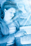 Young sleeping woman with book. Blue tint and small fairy stars Stock Images