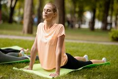 Young slender girl with closing eyes doing yoga exercises on the yoga mat on green grass in the park on a warm day. Yoga royalty free stock photo