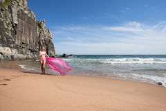 Young slender woman on the sea rocky shore in a pink swimming suit and a pink fabric fluttering in the wind. Stock Photography