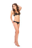 Young slim brunette girl posing in a studio in lacy underwear Stock Photography