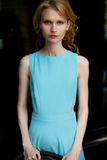 Young slim fashion woman in blue dress and natural makeup Stock Image