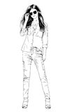 Young slim girl drawn in ink by hand in full growth Royalty Free Stock Photo