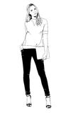 Young slim girl drawn in ink by hand in full growth Royalty Free Stock Photography