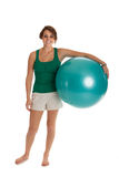Young Slim Girl Exercise with Fitness Ball Royalty Free Stock Photos