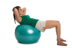 Young Slim Girl Exercise with Fitness Ball Stock Image