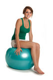 Young Slim Girl Exercise with Fitness Ball Royalty Free Stock Images