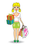 Young slim girl with gifts and shopping Royalty Free Stock Images