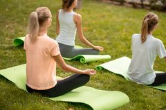 Young slim girl sits relaxing in the lotus position doing exercises on yoga mats with other girls on green grass in the royalty free stock image
