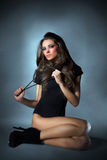 Young slim glamour lady dressed in black Royalty Free Stock Photo
