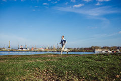 Young Slim Man Running on the Trail in park  Active Lifestyle Concept Stock Photography