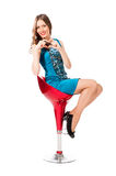 Young slim pretty woman in blue dress posing Royalty Free Stock Images