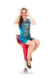 Young slim pretty woman in blue dress posing Stock Image